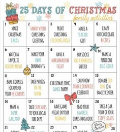Have the best holiday Christmas season ever! Count down the 25 days of Christmas with this advent calendar of fun family activities, in a colorful printable you can hang up for the whole family to see, and to look forward to the upcoming days activities. Print out PDF as soon as purchased, and reuse