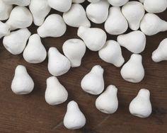 Small Spun Cotton Pears - Vintage-Style Craft Shapes, 8 Pcs.