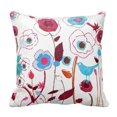 Colorful Spring Flowers Birds Mulberry Blue Orange Pillows SOLD on Zazzle Orange Throw Pillows, Accent Pillows, Decorative Throw Pillows, Designer Pillow, Designer Throw Pillows, Bird Pillow, Southwestern Style, Guest Bedrooms, Custom Pillows