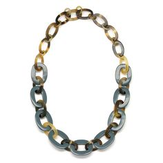 A beautiful chain necklace handmade from buffalo horn and grey blue lacquer. High polish finish. Lightweight. Actual colors may vary. 38.19 (97cm)