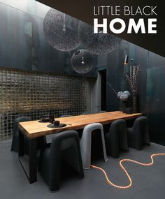 black & dark grey dining space plus Christmas lights on floor #decor #black