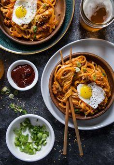 Pork & Kimchi Udon Noodles