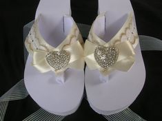 Off White Bridal Flip Flops. Platform Flip Flops with Ivory Lace and Silk Ribbon with Heart Rhinestone. Perfect for Destination and to Dance the Night Away
