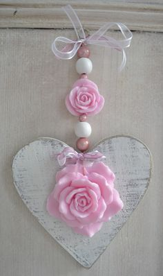 Heart ~ white with pink flowers