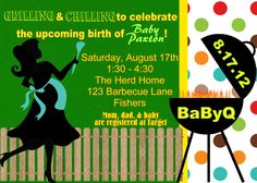 baby shower invitations barbaque | Digital BaByQ BBQ Barbecue Blue Boy Baby Shower Silhouette Invitation ...