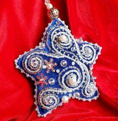 Новый год 2015  Елочные украшения СИНИЙ ИНЕЙ из бархата. Handmade.