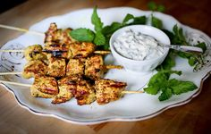 Grilled Tandoori Skewers with Cucumber Mint Raita | Feasting At Home