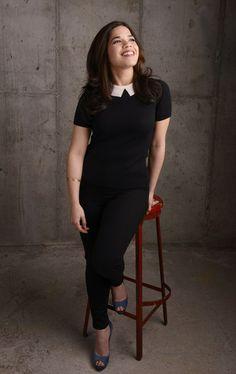 America Ferrera gets her portrait taken in J BRAND's 23110 Maria in Hewson for the Tribeca Film Festival 2014 in New York, NY.
