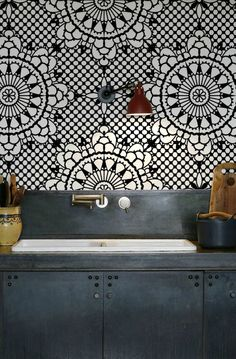 Tiled wall and a slate worktop