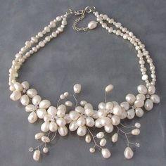 Modern take on the pear necklace.  www.elegancewedding.net