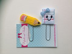 Felt Paper and Pencil Planner Paper Clip Set by PigtailsandPockets on Etsy https://www.etsy.com/listing/230761970/felt-paper-and-pencil-planner-paper-clip