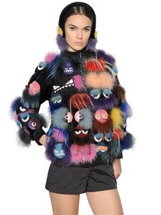 FENDI - MONSTERS PATCHWORK FUR SWEATSHIRT - MULTICOLOR