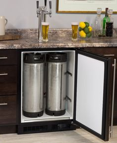 Marvel ML24BNP2RP-X3HB Black Overlay Door Kegerator Cabinet with X-CLUSIVE 3 triple Faucet Home Brew Direct Draw Keg Cooler | BeverageFactory.com