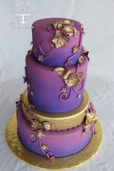 Heaven Sent Desserts, Beautiful wedding cake with style  #color #colours #purple