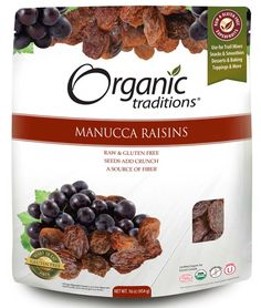 Manucca Raisins by Organic Traditions. A revered superfruit since ancient times, raisins have been consumed as long as grapes have been cultivated. Manucca raisins are extremely large raisins with a juicy center and naturally occurring crunchy seeds. There are no fillers, flavours, additives, preservatives, dyes, artificial colors, sulfites, oils, juice concentrates, sugars or sweeteners added. Certified Organic, Gluten-Free, Kosher, Vegan, Non-GMO and Raw.