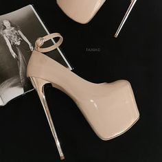 Shop shoes from a vast selection of high and very high, up to 20 cm tall, heels. Cool designs, sizes from EU 32 to Made in Turkey, shipping worldwide. High Platform Shoes, Platform Stilettos, Black Pumps Heels, Hot Heels, Sexy High Heels, Stiletto Heels, Talons Sexy, Extreme High Heels, Metallic Heels