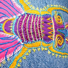 WindyRiver: More Recycled Denim - Colorful Embroidered Fly Pillow