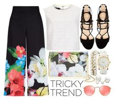 """Tricky Trend: Chic Culottes"" by fattie-zara ❤ liked on Polyvore featuring Ted Baker, Marc Fisher, Ray-Ban, Charlotte Russe, Allurez, TrickyTrend and culottes"