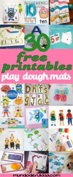 More than 30 of our favorite playdough mats, perfect for fine motor development, creativity and learning. {all free!} These play dough activity mats are so adorable and very fun for the toddlers and preschoolers!  We love this free printables play dough mats Activity Games For Kids, Quiet Time Activities, Playdough Activities, Activity Mat, Printable Activities For Kids, Spring Activities, Infant Activities, Preschool Activities, Free Printables