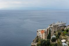 Monastery on Mount Athos - The Grigoriou Holy Monastery on Mount Athos overlooking the second peninsula of Chalkidiki (Sithonia)
