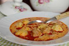 Ragout soup with Tarragon dumplings - Tárkonyos raguleves krumpligombóccal - Citromhab Goulash, Dumplings, Thai Red Curry, Stew, Pork, Food And Drink, Ethnic Recipes, Soups, Kale Stir Fry