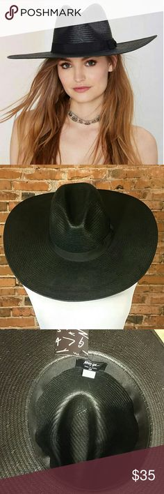 """NWT Nast Gal Hat SOLD OUT ONLINE. Killer black straw hat. Can be worn flat as shown or shape to your unique style.   One Size  Inside of hat measures approximately 22-22.5""""  Panama, Western, Fu, Sun Nasty Gal Accessories Hats"""