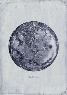 Carte de la lune murale impression Vintage Art déco affiche
