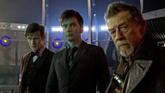 Matt Smith (left), David Tennant, and John Hurt in 'Doctor Who' (Photo: BBC).  The Day of the Doctor.  Doctor Who 50th Anniversary.