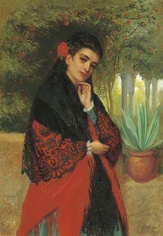 A Spanish Beauty By John Bagnold Burgess (1829-1897)