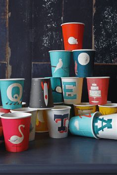 paper cups with swans