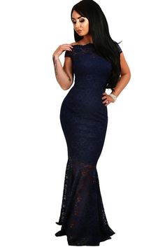 182e87943c1a Off The Shoulder Mermaid Navy Blue Lace Formal Dress
