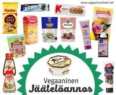 Jäätelön kanssa sopii luonnollisestikin myös kaikenlaiset hedelmät ja marjat, itsevalmistettu kinuskikastike, suklaarouhe/palat, hillot, pähkinät, piparkakut, maapähkinävoi, vaahterasiirappi...   LISTAT: Jäätelöt, mehujäät, jälkiruokakastikkeet: http://www.vegaanituotteet.net/herkut/jaeaeteloet-jaelkiruuat Keksit (myös piparit, vohvelit): http://www.vegaanituotteet.net/herkut/keksit-leivonnaiset Strösselit ja muut koristelutuotteet: http://www.vegaanituotteet.net/herkut/leivonta-koristelu