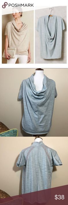 "[Anthrpologie] Cowl Neck Celice Metallic Pullover Anthropologie Knitted & Knotted Colwed Celice Pullover in Sky. Has crochet details along the shoulder in the back. Silver shimmer threading weaved together. Short sleeve. 61% cotton, 31% acrylic, 6% nylon. 2% other fiber. Extra thread included. Length measures 25.5"", bust measures approximately 19"". Anthropologie Tops"
