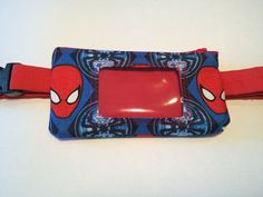 Spiderman insulin pump pouch with clear vinyl screen