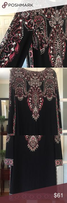 """I•N•C dark pink, black and white This INC dress is really pretty!!  The way the patterns, lines and direction of design helps with the """"thinning affect"""".  Works perfect  👌🏻!! 95% polyester and 5% spandex. INC International Concepts Dresses"""
