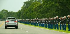 A stunning shot of honor and respect of the funeral procession for Medal of Honor Recipient Col. Bud Day. From Fort Walton Beach to the cemetery, the highway was lined by all the branches of the military and friends. What a beautiful send off for Bud.