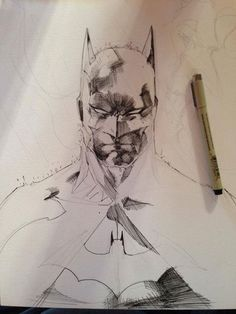 Jim Lee Batman sketch, completed while writing for his daughter at cheer practice. Comic Book Artists, Comic Book Characters, Comic Artist, Comic Books Art, Comic Character, Jim Lee Batman, Im Batman, Superman Art, Batman Artwork