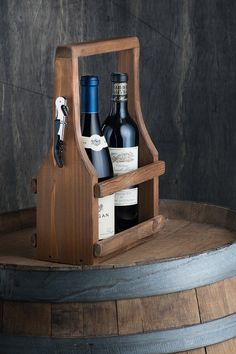 Handmade Wine Carrier Wine Tote Wooden Natural Reclaimed Reused Cedar Wood Medium Walnut stain with a Soft Curve
