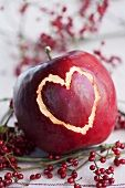 Red apple with a heart scratched in the skin Red Hydrangea, Fruit Decorations, Red Apple, Valentines Day, Heart, Food, Valentine's Day Diy, Essen, Meals