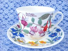 Roy Kirkham Botanical Breakfast Size Cup And Saucer Flowers And Names Bone China