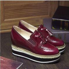 Mujeres Oxfords Mocasín borlas Slip On Cuña ENREDADERA Plataforma De Tacón Alto Bomba Zapatos