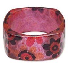 Chunky Square Lucite Bangle Bracelet 70s Mod Retro Flowers Pink Multi Glitter #cascadejewelry #cj #ebay #ebayfinds http://ift.tt/22QCHrL