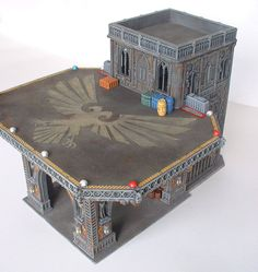 A commission piece for a client. The request was for an elevated Landing Zone (LZ) with a removable roof. Custom made from plastic kits, cast and manufa. Imperial Landing Zone for Warhammer Terrain, 40k Terrain, Game Terrain, Wargaming Terrain, Gi Joe, Hirst Arts, Sci Fi Miniatures, Game Workshop, Warhammer 40000