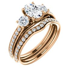 Three-Stone Accented Engagement Ring with an oval diamond. Cheap Engagement Rings, Classic Engagement Rings, Three Stone Engagement Rings, Beautiful Engagement Rings, Engagement Ring Settings, Beautiful Rings, Princess Wedding Rings, Wedding Rings Simple, Unique Rings