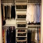 Build a Simple Closet Organizer. I've been looking online and they are expensive and cheap. We could probably do something like this for bedroom closet. Would utilize space much better.  *There are several other interesting DIY projects at this site.
