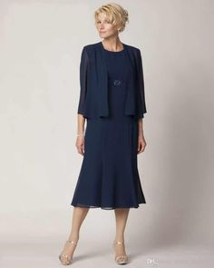 Wholesale Mother of the Bride Dresses - Buy Graceful Crew Neck Knee Length Mother Of The Bride Dresses Chiffon Dark Blue Formal Evening Dress With Jacket Half Sleeve, $83.3 | DHgate