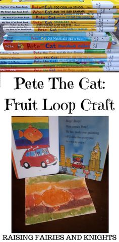 Pete The Cat - Time to read Pete the Cat and celebrate the Monthly Crafting Book Club. Read the book then do the Pete the Cat Fruit Loop craft and activity with your kids #pregnancyactivitybook,