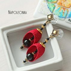 Silk Red Cocoon Earring Silkworm Jewelry Black Agate Woman Girl Lady Trendy Gemstone  Universal Gold plated Titanium Cocoon earrings by Napoleonka on Etsy