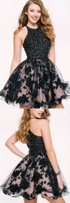 Black Short Lace Sleeveless Prom Dress,Evening Dress For Teen 2018 HH225#2018PromDresses #PromDressesLace #LongPromDresses#PartyDress#EveningDress#dress#dresses#CheapPromDress#GraduationDress