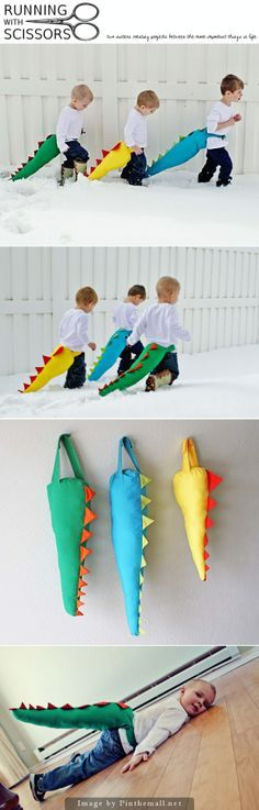 "Dinosaur Tails Tutorial -  This is a simple, fun, toy for kids.  I designed these tails with two straps that wrap around their waist with velcro in front making it easy for them to get them on and off themselves.  These have been fun during these long winter months when we have to play inside.  My boy has ""dino fights"" with his dad where he wiggles his bum to use the tail as a sword...it's pretty cute."